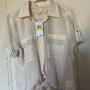 Michael Kors blouse, pink with gold stripes